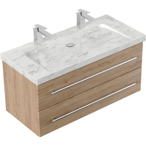 Mueble de baño mármol Carrara Blanco Damo 100cm 2 agujero para grifo Roble claro