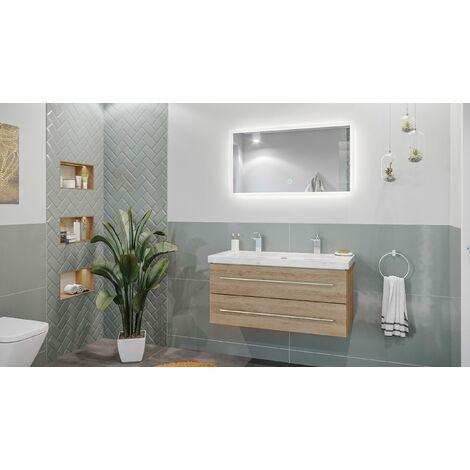 Mueble de baño mármol Carrara Blanco Damo 100cm 2 agujero Roble claro y espejo