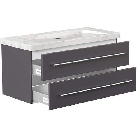 Mueble de baño mármol Carrara Blanco Damo 100cm sin agujero para grifo antracita