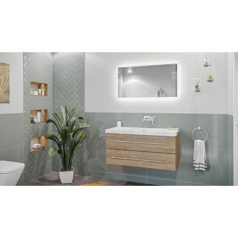 Mueble de baño mármol Carrara Blanco Damo 100cm sin agujero Roble claro y espejo