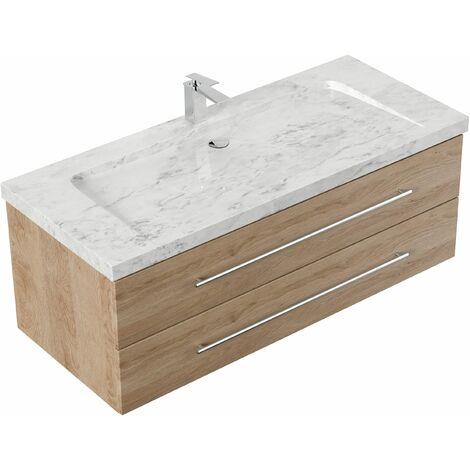 Mueble de baño mármol Carrara Blanco Damo 130cm 1 agujero para grifo Roble claro