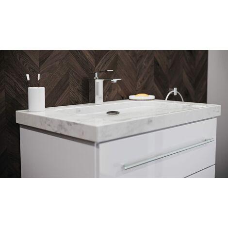 Mueble de baño mármol Carrara Blanco Damo 75cm 1 agujero Blanco y LED espejo