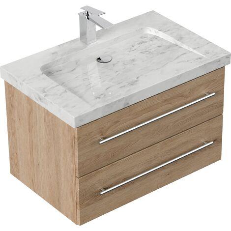 Mueble de baño mármol Carrara Blanco Damo 75cm 1 agujero para grifo Roble claro