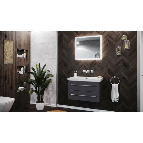 Mueble de baño mármol Carrara Blanco Damo 75cm sin agujero Antracita LED-espejo