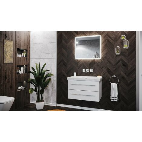 Mueble de baño mármol Carrara Blanco Damo 75cm sin agujero Blanco LED-espejo