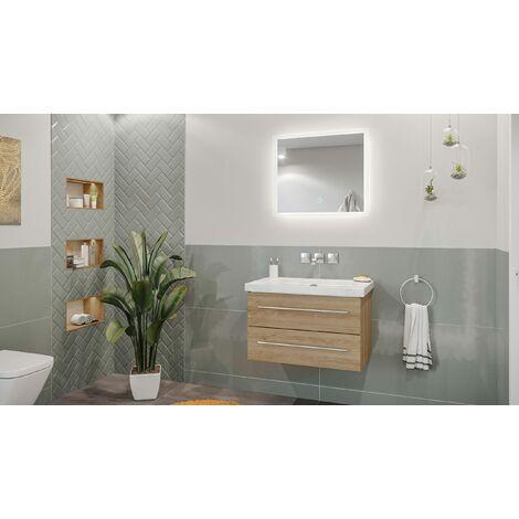 Mueble de baño mármol Carrara Blanco Damo 75cm sin agujero Roble claro y espejo