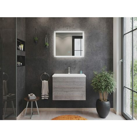 Mueble de baño Mars 700 SlimLine 2 partes Espejo - LED Gris hormigón