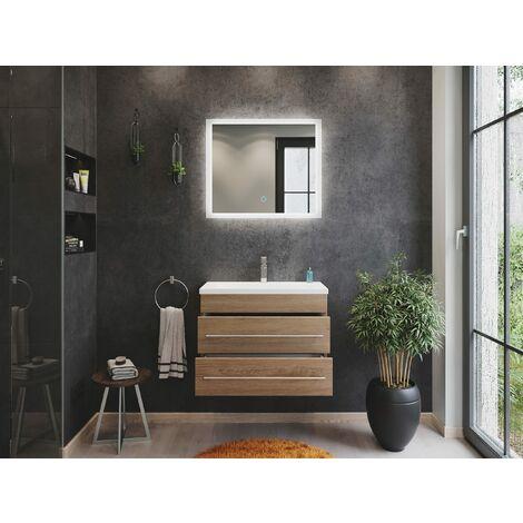 Mueble de baño Mars 700 SlimLine 2 partes Espejo - LED Roble claro
