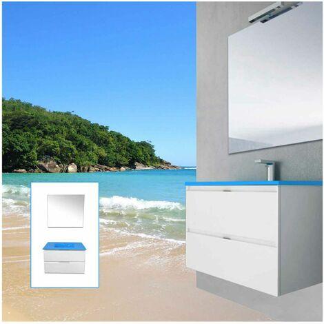 Mueble de Baño Mizar con lavabo Azul Mediterraneo y Espejo Liso 80 cm