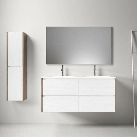 Mueble de baño montado 120cm DEKA, roble oscuro y blanco