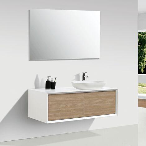 Mueble de baño MONTADO 120cm PALIO, blanco / roble claro