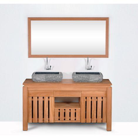 Mueble de baño montado lavabo doble 140cm MALACCA de madera maciza