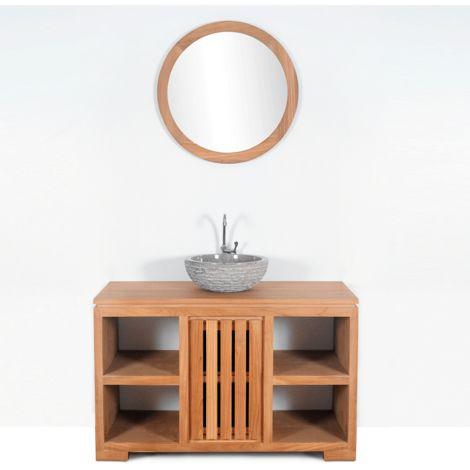 Mueble de baño montado lavabo simple 120cm MALACCA de madera maciza