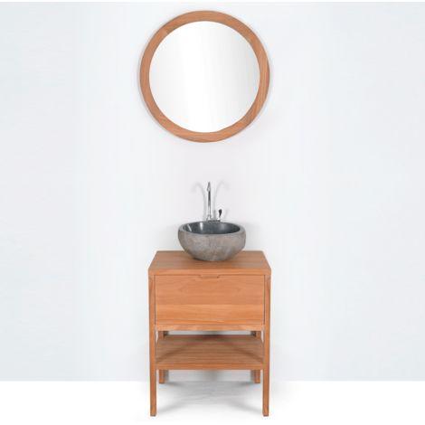 Mueble de baño montado lavabo simple 60cm SVEG de madera maciza
