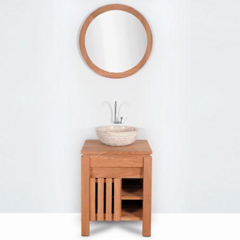 Mueble de baño montado lavabo simple 80cm MALACCA de madera maciza