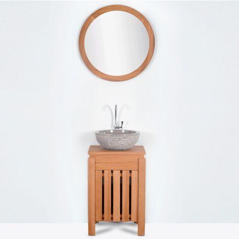 Mueble de baño montado lavamanos 40cm MALACCA de madera maciza