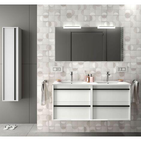 Mueble de baño Nevada 120 cm en madera blanca brillante con lavabo de porcelana