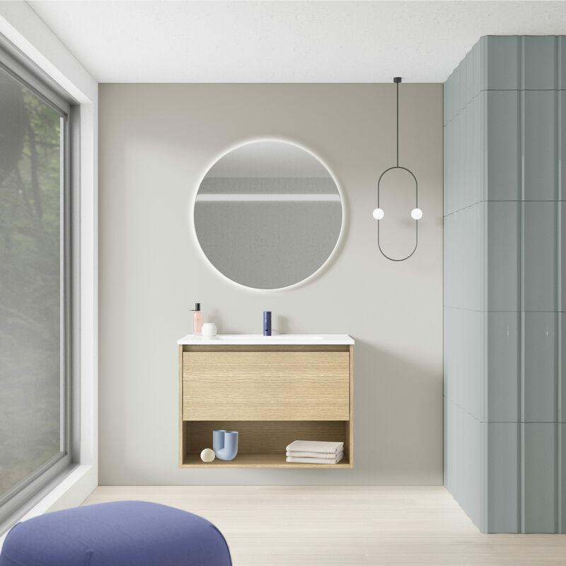 Amizuva - Mueble de baño NIWA de 80 cms con 1 cajón y 1 hueco. Acabado Roble Arenado | Incluye lavabo cerámico .