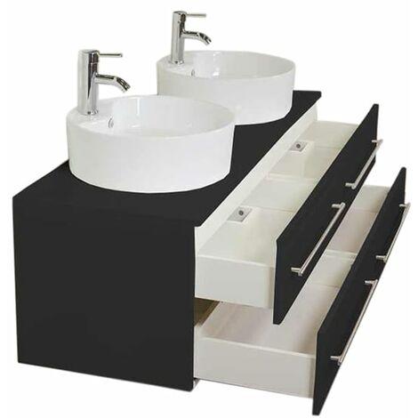 Mueble de baño Novum XL Negro satinado con lavabo