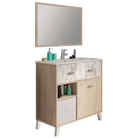 Mueble de baño o aseo con lavabo cerámico y espejo incluido, color roble y collage
