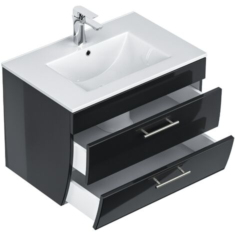 Mueble de baño Palermo 70 con 2 cajones de cierre suave Antracita metalizado