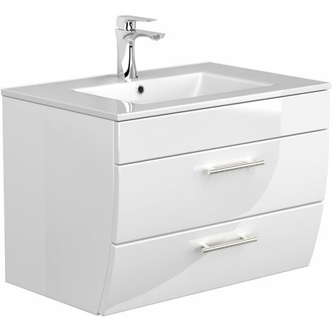 Mueble de baño Palermo 70 con 2 cajones de cierre suave blanco brillante