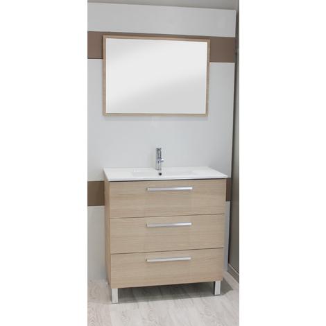 Mueble de bano PALLAS 80 MADERA ROBLE Dimensiones : 81x46,5x88 cm - Aqua +