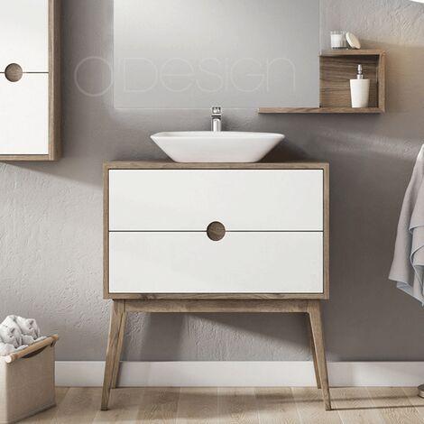 Mueble de baño para labavo simple con 2 cajones blanco - Báltico 80 cm