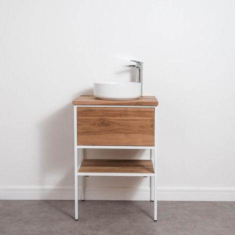 Mueble de Baño para Lavabo 60 cm INDUSTRIAL - Madera y Metal Blanco