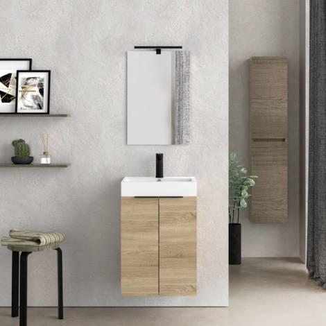Mueble de baño pequeño con Lavabo cerámico y Espejo con Aplique de luz LED, de Dos Puertas, Acabado en Color Bardolino, de fácil montado, Medidas: 45 x 60 x 36 cm