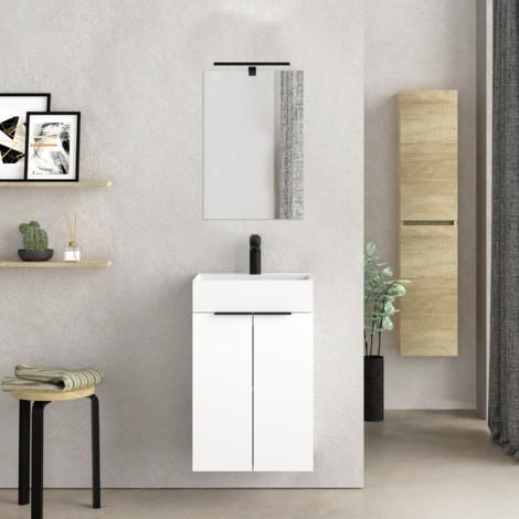 Mueble de baño pequeño con Lavabo cerámico y Espejo con Aplique de luz LED, de Dos Puertas, Acabado en Color Blanco, de fácil montado, Medidas: 45 x 60 x 36 cm