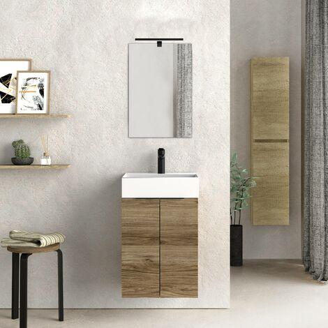 Mueble de baño pequeño con Lavabo cerámico y Espejo con Aplique de luz LED, de Dos Puertas, Acabado en Color Teka, de fácil montado, Medidas: 45 x 60 x 36 cm