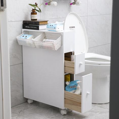 Mueble de baño portarrollos carro con 2 cajones almacenamiento baño 70x71x20cm blanco