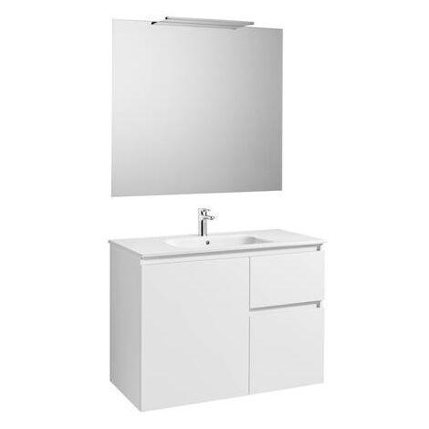 Mueble de baño Roca Anima con lavabo, espejo y aplique LED 1000x460x724mm Blanco Brillo