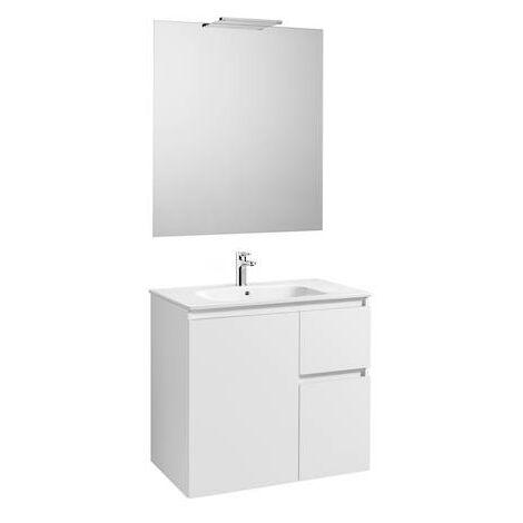 Mueble de baño Roca Anima con lavabo, espejo y aplique LED 800x460x724mm Blanco Brillo