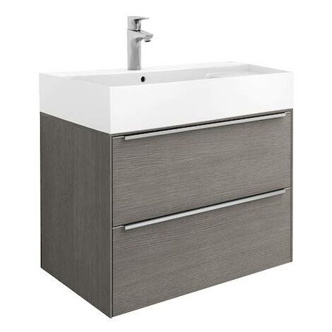 Mueble de baño Roca Inspira Unik con lavabo FINECERAMIC® 800x498x674mm Roble City Texturizado