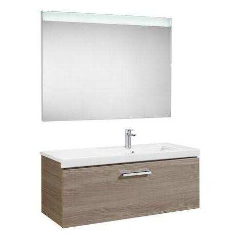 Mueble de baño Roca Prisma con lavabo derecha y espejo LED 900x460x424mm Fresno