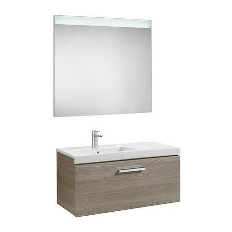 Mueble de baño Roca Prisma con lavabo izquierda y espejo LED 900x460x424mm Fresno