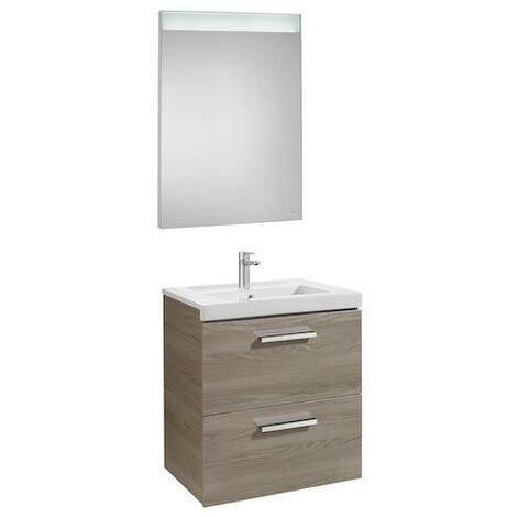 Mueble de baño Roca Prisma con lavabo y espejo LED 1200x460x424mm Fresno