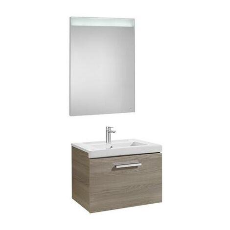 Mueble de baño Roca Prisma con lavabo y espejo LED 600x460x424mm Fresno