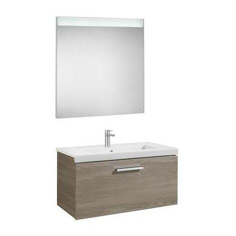 Mueble de baño Roca Prisma con lavabo y espejo LED 800x460x424mm Fresno
