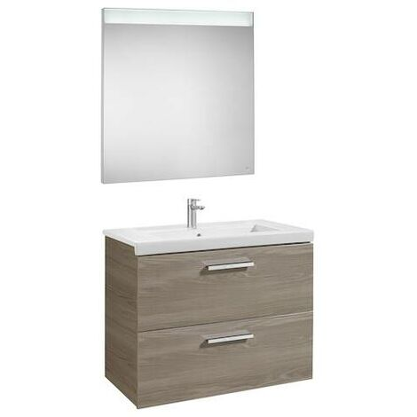 Mueble de baño Roca Prisma con lavabo y espejo LED 800x460x667mm Fresno