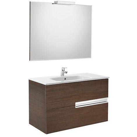 Mueble de baño Roca Victoria-N con lavabo, espejo y aplique LED 1000x460x565mm Wenge Texturizado