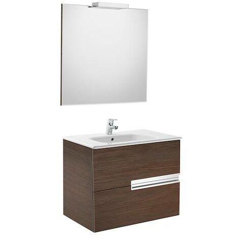 Mueble de baño Roca Victoria-N con lavabo, espejo y aplique LED 700x460x565mm Wenge Texturizado