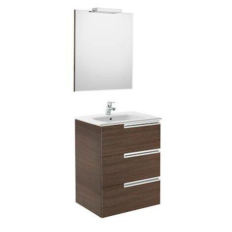 """main image of """"Mueble de baño Roca Victoria-N con lavabo, espejo y aplique LED 700x460x740mm Wenge Texturizado"""""""