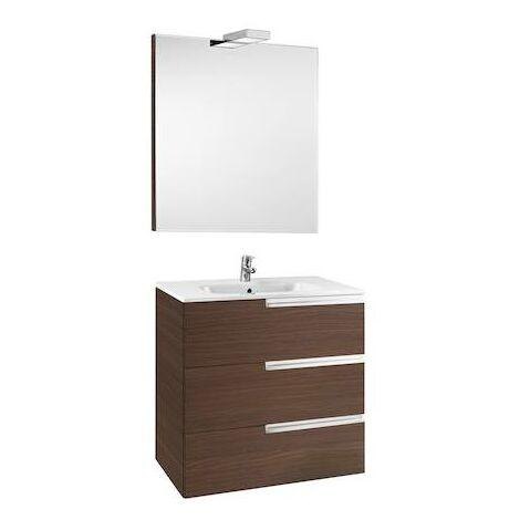 Mueble de baño Roca Victoria-N con lavabo, espejo y aplique LED 800x460x740mm Wenge Texturizado