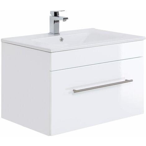 Mueble de baño SANTINI 75 Blanco, frentes blancos brillo