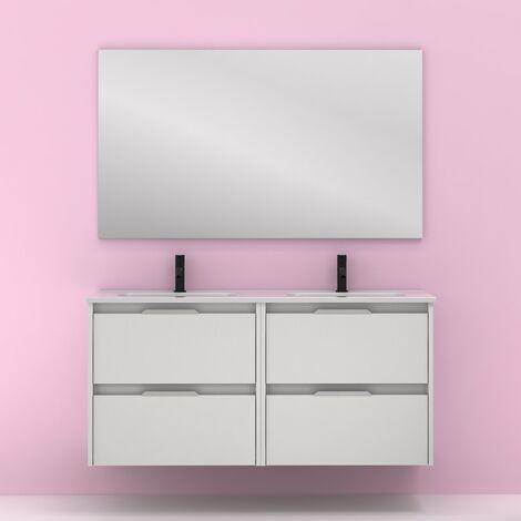 Mueble lavabo SUKI suspendido. Opción Blanco, Gris, Antracita, Fumé, Nogal. 2 y 4 cajones. Lavabo simple y doble. BLANCO BRILLO  120 cm