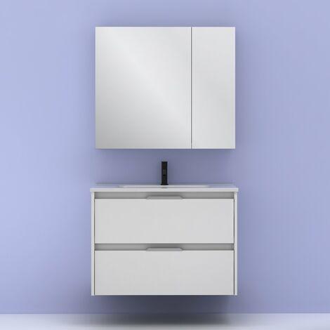 Mueble lavabo SUKI suspendido. Opción Blanco, Gris, Antracita, Fumé, Nogal. 2 y 4 cajones. Lavabo simple y doble. BLANCO BRILLO 80 cm