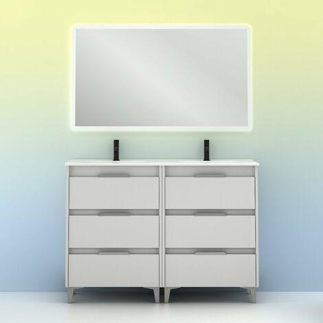 Mueble lavabo SUKI con patas. Opción Blanco, Gris, Antracita, Fumé, Nogal . 3 y 6 cajones. Lavabo simple y doble. BLANCO BRILLO 120 cm